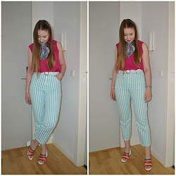 Mucha Lucha - Second Hand Scarf, Second Hand Top, Asos Belt, Asos Jeans, Asos Heels - Back to work