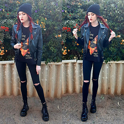 Kc - Dr. Martens Jadon Boots, Princess Polly Faux Leather Jacket - The Smashing Pumpkins