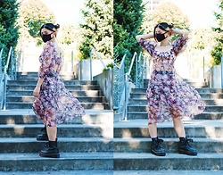 Lovely Blasphemy - For Love & Lemons Faye Midi Dress, Dr. Martens Molly Glitter Platforms - Floral