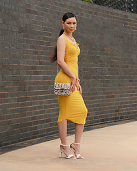 Raspberry Jam - Gojane Mustard Bodycon Dress, Shein Snake Print Dress, Urbanog Strap Heels - Mustard Bodycon Dress