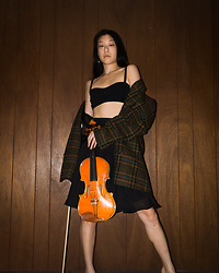 Gi Shieh - Basement Find Plaid Blazer, Old Fast Fashion Black Bralette/Crop Top, Old Fast Fashion Black Skirt - Bring On The Dark Academia