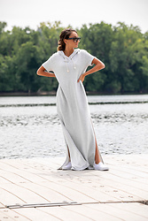 Lauren Recchia - Free People Hooded Maxi Dress, Vans Slip On Sneakers, Celine Aviator Sunglasses - Go Big