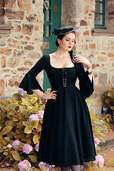 Charlotte S. - Lena Hoschek Gwendolyn Dress, Birds And Fresia Edwardian Flat Canotier - Black Magic Woman