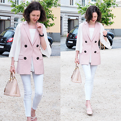 Claire H - Zara Blush Vest With Buttons, H&M White Blouse With Chiffon, Louis Vuitton Alma, Högl Kitten Heels - Vest time