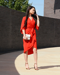 Raspberry Jam -  - Red Surplice Dress