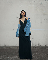 Gi Shieh - Thrifted Oversized Denim Jacket, Old Fast Fashion Black Dress - Bring on the denim