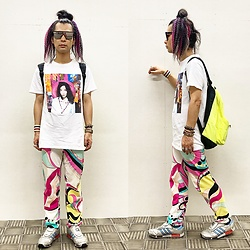 @KiD - Typhoon Mart Mirror Sunglasses, Bjork Tee, Emilio Pucci Colorfully Pants, Adidas Micro Pacer, Obey Neon Bag - JapaneseTrash594