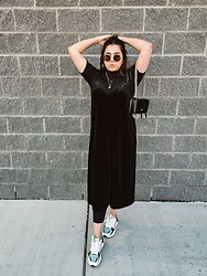 Yesok - Halogen Velvet Slip Dress, Kate Spade Furry Shoulder Bag, Puma Rs X - PREFALL