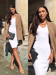 Anastasia Kotliar - Tory Burch Bag, Stradivarius Shoes, Zara Blazer, Pillgrim Accessories, Love Republic Dress - WHITE X BEIGE