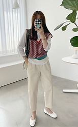 Miamiyu K - Miamasvin Color Blocked Patterned Knit Vest - Pretty Preppy