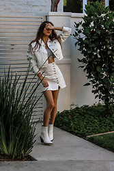 Jenny M - Forever 21 Denim Jacket, Forever 21 Denim Skirt, Aldo Boots - @thehungarianbrunette - White Denim