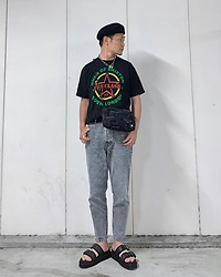 ★masaki★ - Vitaly Padlock Necklace, The Clash Guns Of Brixton, Zara Jeans, Dr. Martens Sandals - ☆GUNS OF BRIXTON☆