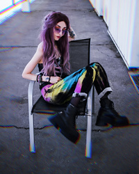 Kimi Peri - Collusion Tie Dye Jeans, Uniwigs Purple Hair, Dolls Kill Tube Top, Naked Wolfe London Platform Boots, Jeepers Peepers Purple Glasses - The Colors Of Love 💖💛💙
