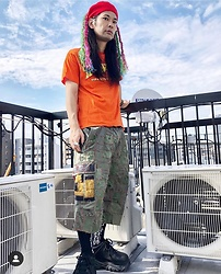 @KiD - Rat Swamp Beret, Supa Resque Wears Tee, Gyaku Sou Military Crust Pants, Buffalo Platform - JapaneseTrash597