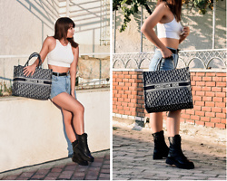 Kaya Peters - Christian Dior Tote Bag, Revolve White Crop, Army Boots - Dior Dior