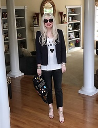 Shannon D - Marc By Jacobs Navy Blue/Black Striped Blazer, Scotch & Soda Tee, Hermès Leather Cuff, Christian Lacroix Heels, Lanvin Bag, Frame Cropped Denim - Weekend Vibes Only