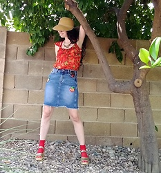 Saguaro Style - Anthropologie Strawberry Top, Buffalo Patch Denim Skirt, Red Knee Socks, Sven Clogs Gold - 09.13.20
