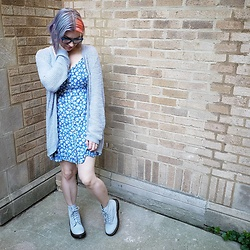 Lyndee M. - Target Cardigan, American Eagle Dress, Dr. Martens Doc - Last days of summer