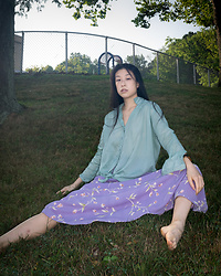 Gi Shieh - Old Fast Fashion Pastel Green Blouse, Old Fast Fashion Purple Floral Skirt - Still Summer