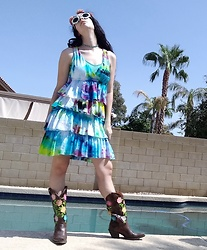 Saguaro Style - Tie Dye Dress, Justin Boots Roses Cowboy - 09.16.20