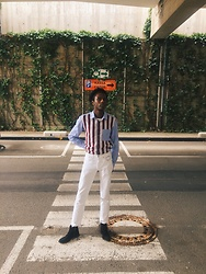 Jon The Gold - Joseph Striped Shirt, Levi's® White Denim Pants - Work Attire