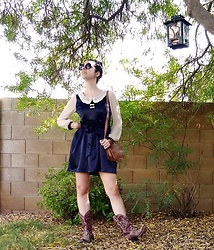 Saguaro Style - Miss Patina Silk Navy Dress, Coach Mickey Bag, Eight Second Angel Heart Cowboy Boots - 09.17.20
