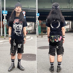 @KiD - Suicidal Tendencies Bandanna, Sxoxb Tee, Supa Resque Wears Crust Shorts, Vivienne Westwood Cigarette Case, Santa Cruz Wasted Porches, Dr. Martens 10 Hole - JapaneseTrash599