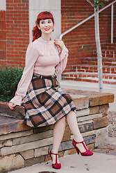 Bleu Avenue - Forever 21 Pink Ruffle Top, Rosegal Plaid Skirt, Qupid Dynamic Debut T Strap Heels - Autumn Ready