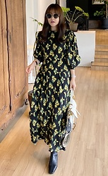 Miamiyu K - Miamasvin Lemon Printed Long Dress - Autumn-Fresh