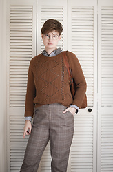 Anna C. - Thredup Sweater, Plaid Pants, Collar Shirt, Vintage Leather Bag - Sweater Outfit No. 1