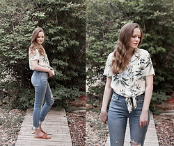 Emily S. - American Eagle Outfitters Button Up Top, Abercrombie & Fitch Distressed Jeans, Abercrombie & Fitch Cross Strap Sandals - Tropical Dreams