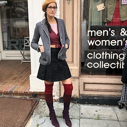 Michele - Banana Republic Wool Blazer, French Toast School Girl Skirt, Nightwalker Cropped Wrap Top, Stuart Weitzman Over The Knee Suede Color Blocking Boots - Fall go-to