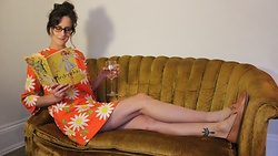 Michele - Bill Atkinson (Vintage) Sunflower Dress, Walk Overs (Vintage) Loafers - Mothers little pill
