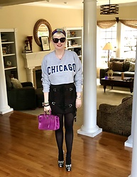 Shannon D - Unif Skirt, Hermès Bag, Alice + Olivia Heels, Hermès Silk Band - Chicago Love