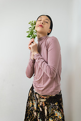 Gi Shieh - Organic Basics Pink Turtleneck, Thrifted Brown Floral Skirt - Breathe In, Breathe Out
