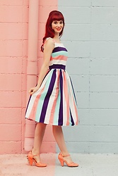Bleu Avenue Ofbleuavenue - Collectif Candice Seaside Dress Striped - Seaside Stripes