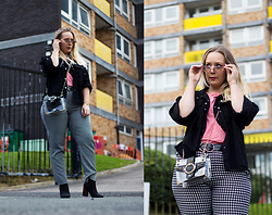 Emma Reay - Shein Sunglasses Gifted, Shein Denim Jacket Gifted, Shein Pink Top Similar, Shein Houndstooth Pants Similar, Shein Boots Similar, Shein Clear Bag Gifted - Shein Outfit