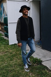 Kevin Elezaj - Vans Sneakers, Levi's® Jeans, A Day'S March Sweater, Falke Vest, Urban Outfitters Hat - Smile