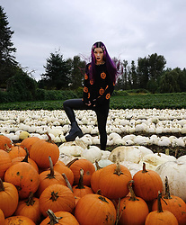 La Carmina - LaCarmina.com - La Carmina Pumpkins Goth Knit Sweater, Uk Tights Commando Skin Tight Leather Leggings, Jeffrey Campbell Black Rain Boots Platforms, Egirl Pearl Barrettes - Goth Halloween pumpkin patch fashion pumpkins sweater Gothic