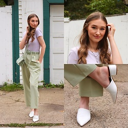 Taylor Doucette - Zara Cropped Lavender Tee, Zara Pistachio Belted Trousers, Matt And Nat Pistachio Crossbody Bag, L'intervalle White Leather Mules - Maybe Don't - Maisie Peters, JP Saxe
