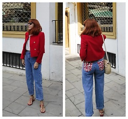 Mi Vida En Rojo - Zara Jacket, Pull & Bear Jeans, H&M Sandals - Red is a lifestyle!