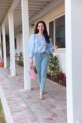 Lisa Valerie Morgan - Loveshackfancy Blouse, Jeans, Steve Madden Sandals - Fall Transitional Look: Pastels