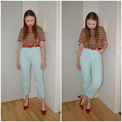 Mucha Lucha - Second Hand T Shirt, Asos Belt, Asos Jeans, Zara Heels - Horizontal and vertical stripes