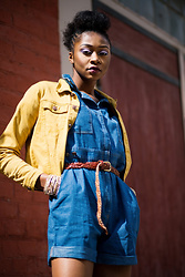 Melody Jacob -  - How to wear a yellow denim jacket and a blue denim play suit