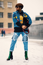 Melody Jacob -  - How to style sweatshirt, denim jacket, and distressed jeans