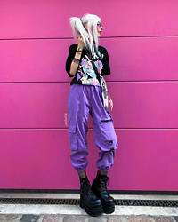 Kimi Peri - Cornerveis Purple Trousers, Demonia Platform Boots, Romwe Peanuts Bag, Dollblacks Kawaii Tee, Crescent Moon Necklace, Fishnet Tights, Vii & Co. Purple Witch Glasses - Pink & Purple 💜💕