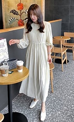 Miamiyu K - Miamasvin Gathered Self Tie Waist Long Dress - Blanc Aesthetic