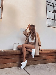K-laa White - Zara High Collar Ribbed Top, Zara Oversized Poplin Shirt, Zara Plush Shorts - Mood: ZARA
