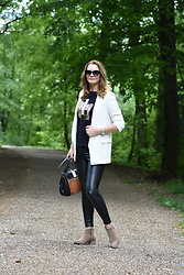 Butterfly Petty - Zara Pants, Guess Bag, Fraiche Boots, Flair By Diana Blazer - White blazer