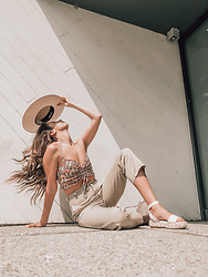 K-laa White - Urban Outfitters Uo Sophie Ruched Cropped Cami, Bdg Ella High Waisted Chino Pant, Vince Camuto Defina Ankle Strap Platform Sandal, Lack Of Color Ivory Rancher Hat - F R E S H